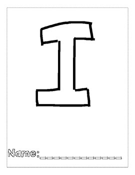 Letter I Color and Trace AlphaBook