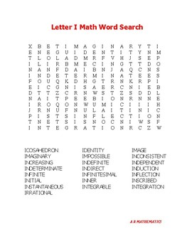 Letter I Math Word Search