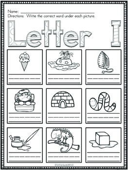 Letter I Vocabulary Cards