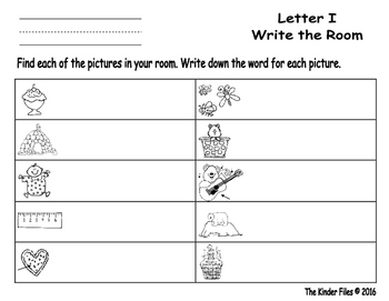 Letter I Write the Room- Includes 3 levels of answer sheets