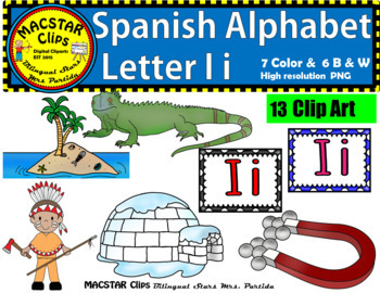 Letter I i Spanish Alphabet Clip Art   Letra Ii Personal and Commercial Use