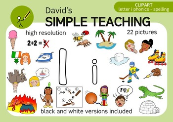 Letter I phonics - spelling clipart with free preview