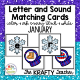 Letter ID Matching Beginning Sound Cards for January, Winter