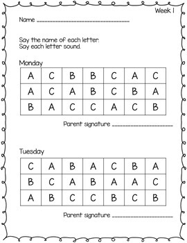 Letter Identification and Letter Sound Homework