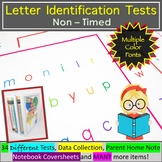Letter Identification Assessment - Multiple Color Fonts and Thin Border Options