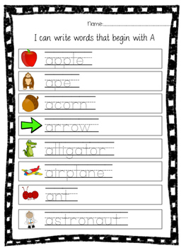 Letter Identification & Beginning Sounds A-Z