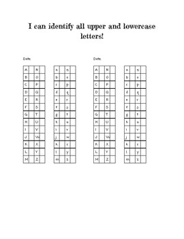 Letter Identification Data Sheet