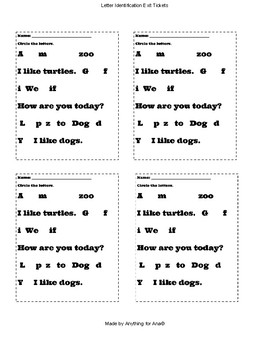 Letter Identification Exit Ticket