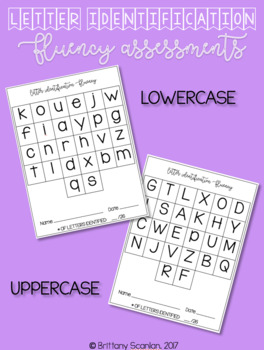 Letter Identification Fluency Assessment - upper case and lower case included