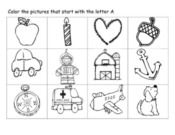 Letter Identification Picture Coloring