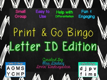 Letter Identification Small Group Bingo Game