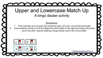 Letter Identification and Letter Sounds Bingo Dauber Activities
