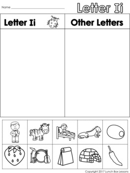 Letter Ii Beginning Sound Sort/Phonemic Awareness