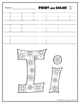 Letter Ii Printing and Pattern Coloring Worksheets
