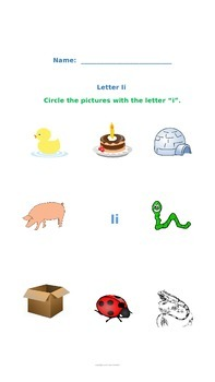 Letter Ii Vowel Worksheet