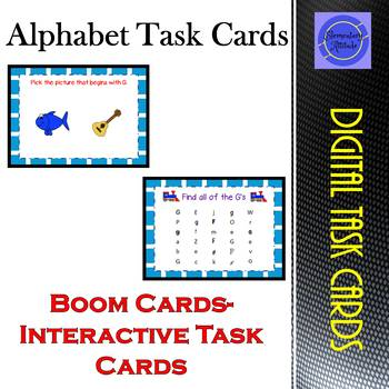 Letter Interactive Task Cards with Sound Boom Cards!! Growing Bundle A-Z