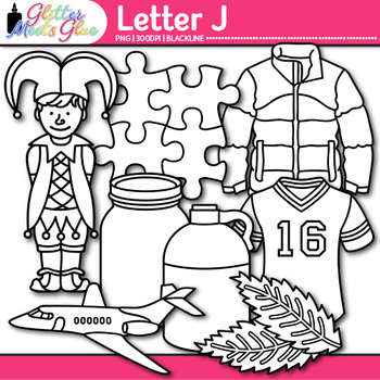 Letter J Alphabet Clip Art | Teach Phonics, Recognition, & Identification | B&W