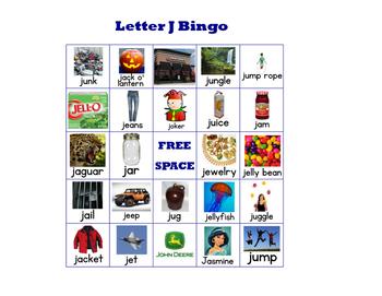 Letter J Bingo