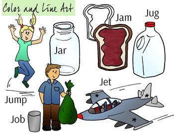 Letter J Clip Art - Color and Line Art 12 pc set