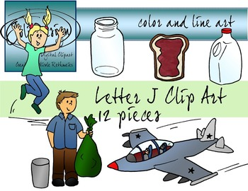 Letter J Clip Art - Color and Line Art 12 pc set