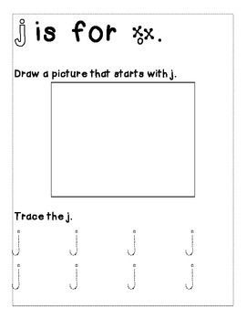Letter J Color and Trace AlphaBook