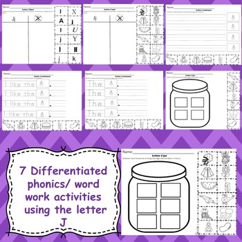 Letter J activities (emergent readers, word work worksheets, centers)