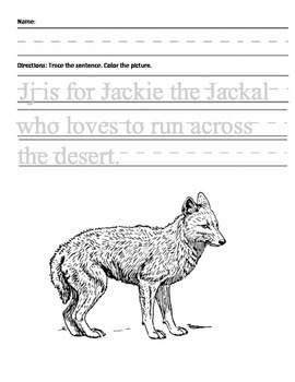 Letter J for Jackal Handwriting Practice and Questions!