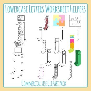 Letter J (Lowercase) Worksheet Helper Clip Art Set For Commercial Use