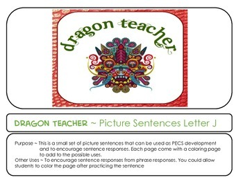 Letter J Picture Sentences for PECS or Early Readers