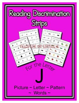 Letter J Reading Discrimination Strips for Fluency and Alphabet Recognition