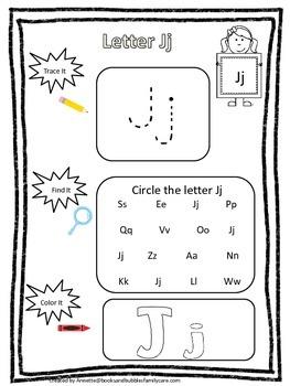 """Letter """"J"""" Trace it, Find it, Color it.  Preschool printab"""