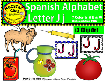 Letter J j Spanish Alphabet Clip Art   Letra Jj Personal and Commercial Use