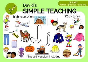 Letter J phonics - spelling clipart with free preview