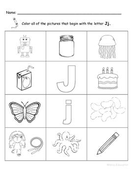 Letter Jj Words Coloring Worksheet