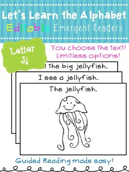 Letter Jj *Editable* Alphabet Emergent Reader