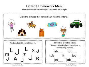 Letter Jj Homework Menu
