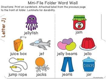Letter Jj Mini-File Folder Word Wall Activity Pack