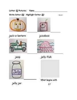 Letter Jj Phonics Sheet