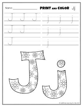 Letter Jj Printing and Pattern Coloring Worksheets