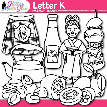 Letter K Alphabet Clip Art {Teach Phonics, Recognition, and Identification} B&W