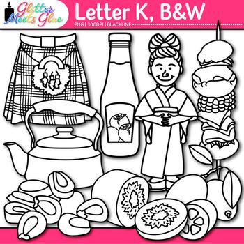 Letter K Alphabet Clip Art {Teach Phonics, Recognition, an