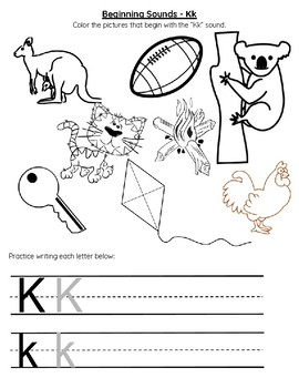 Letter K Beginning Sounds