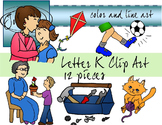 Letter K Clip Art - Color and Line Art 12 pc set