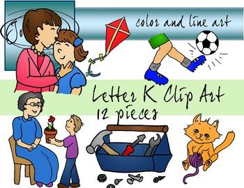 Letter K Clip Art - Color and Line Art 12 pc set