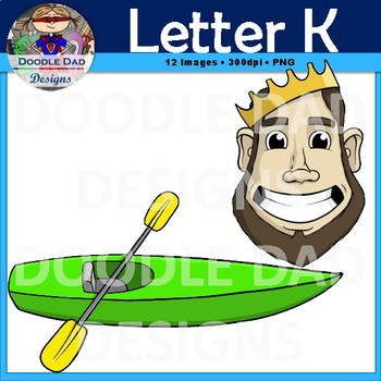 Letter K Clip Art (Keyboard, King, Key, Knife, Kite, Kayak)
