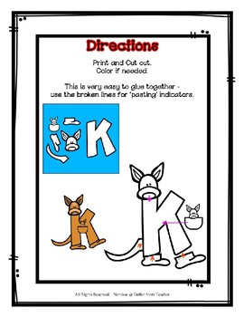 Letter K Craftivity - Kangaroo - Zoo Phonics Inspired - Color & BW Versions