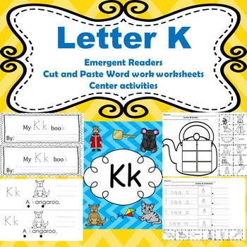 letter k activities emergent readers word work worksheets centers