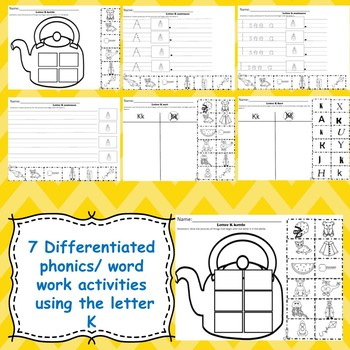 Letter K activities (emergent readers, word work worksheets, centers)