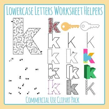 Letter K (Lowercase) Worksheet Helper Clip Art Set For Commercial Use