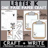 Letter K One Page Paper Crafts - King and Koala
